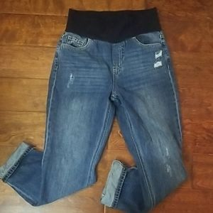 M. Rena Distressed roll up maternity jeans